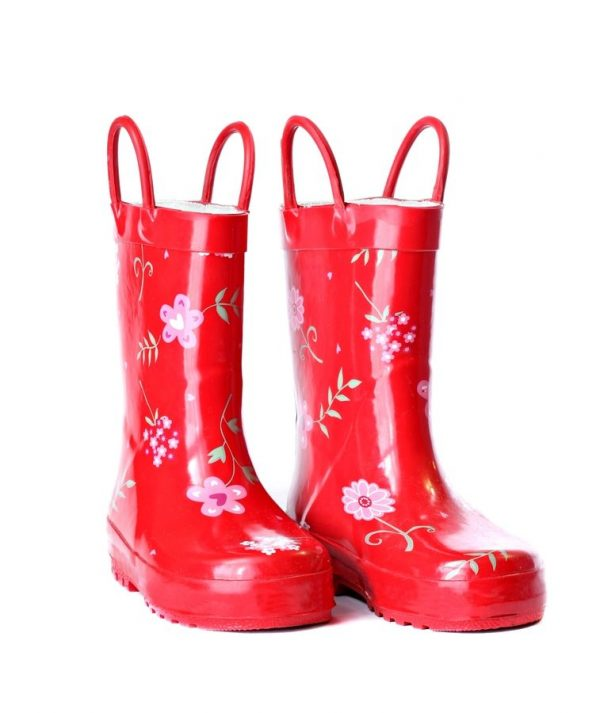 A pair of bright red gumboots